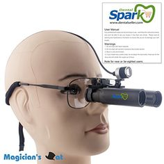Spark 8.0x Magnification Professional Loupes with Black Metal Frame and Mounted LED Head Light for Dental, Surgical, Jeweler, or Hobby | Adjustable Pupil Distance Model #DM8AXSL
