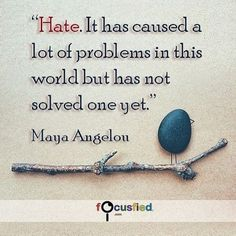 Hate. It has caused a lot of problems in this world but has not solved one yet. #Quotes #Positivity https://www.focusfied.com