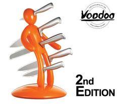 Raffaele Iannello Voodoo Kitchen Knife Block Set with Five Knives - Orange