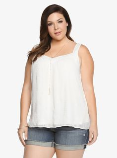 Chiffon Embroidery Cami From the Plus Size Fashion Community at www.VintageandCurvy.com