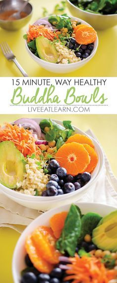 This 15 Minute Buddha Bowl recipe is a balanced, healthy lunch or dinner meal that comes together in no time! It's a flavorful combo of healthy grains (bulgur, quinoa, couscous, or brown rice), chickpeas, fruit and avocado with a creamy, citrusy yogurt salad dressing. // Live Eat Learn