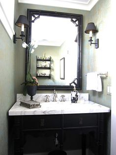 Just need to buy black gloss paint to cabinet and mirror, and get all-in-one marble sink/counter. Exactly what I have in my mind for the summer redo! powder room