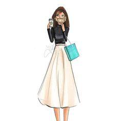 """Breakfast with Audrey"" is now on Etsy (link in bio)  #FashionSketch #fashionillustrator #fashionillustration #bostonblogger #bostonillustrator #audreyhepburn #croissant #coffee #copicart #prints #etsy #breakfastattiffanys"
