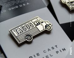 Taco Truck - Enamel Pin  1.25 Die-stamped Pin in Silver Metal with Black Enamel & Double Rubber Clasp.  Limited Edition  ——  © PS Design Co. /