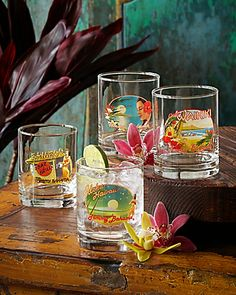 Tommy Bahama - Hawaiian Double Old-Fashioned Glasses - Set of Four Hawaiian Home Decor, Hawaiian Homes, Pool Shed, Tropical Kitchen, Tommy Bahama Beach Chair, Home Design Decor, Interior Design, Beach Shack, Tropical Vibes