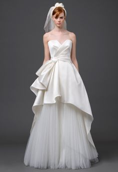 Alberta Ferretti Spring 2015...Pretty, imagine this with embellishments & textured fabric combination that fit your wedding theme. Cheaper to have custom-made than purchasing from salon.