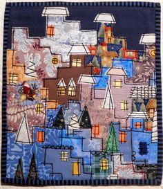 Happy Villages mini quilt by Lene Alve at Dances with Wool