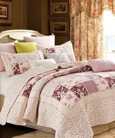 Take a look at this Pink English Garden Patchwork Quilt Set today!