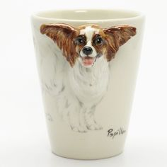 http://www.muddymood.com  Original hand sculpt and hand paint   Papilon Dog Ceramic Mug Handmade.
