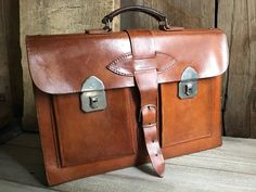 Belted Leather Briefcase Attache Case Satchel, Sienna Brown Top Carry Handle, Made in Holland Briefcase For Men, Leather Briefcase, Stamp Making, Leather Men, Satchel, Chrome, Belt, Holland, Brown