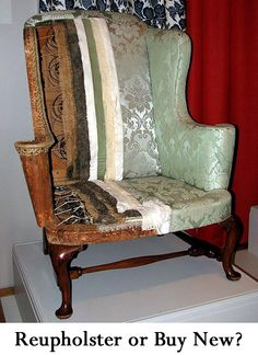 When looking to get new furniture in your home, there are several options.  You can reupholster your existing furniture, purchase used furniture from a thrift store, antique store, or garage sale and have it reupholstered, or you can buy new.  Here is a list of pros and cons to help you decide whether to Reupholster Existing Furniture or Buy New?