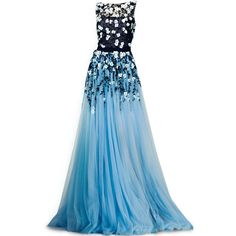 satinee.polyvore.com - Tony Ward Couture 2014 ❤ liked on Polyvore featuring dresses, gowns, long dresses, satinee, vestidos, long blue evening dress, couture evening gowns, blue evening gown, blue dress and blue ball gown