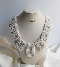 White bead necklace OOAK seed bead necklace Statement от Szikati