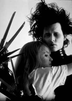 """Edward Scissorhands (1990) - Johnny Depp, Wynona Rider    """"You see, before he came down here, it never snowed. And afterwards, it did. If he weren't up there now... I don't think it would be snowing. Sometimes you can still catch me dancing in it."""""""