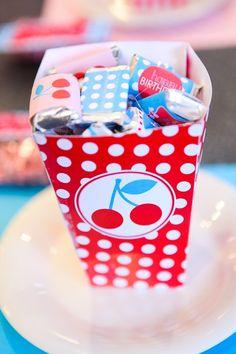 Retro Cherry Party PRINTABLE DIY Birthday Mini Candy by lovetheday, $8.00