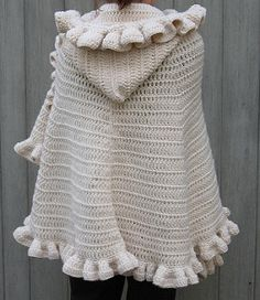 This poncho features a generous cowl neck that can double as a hood. (Lion Brand Yarn)