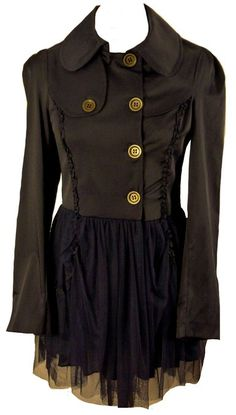 Navy fitted victorian evening coat steampunk raincoat mac-12 vintage boho: Amazon.co.uk: Clothing