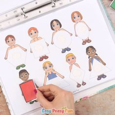 This Printable People Quiet Book will guide your kids through a variety of basic skill excercises – have your kids place hats on kids' heads to match the colors, or match the letters of the alphabet to build a police officer, cook or other fun characters. Alphabet Activities Kindergarten, Preschool Learning Activities, Infant Activities, Preschool Activities, Activities For Kids, Kids Activity Books, Student Gifts, Kids Education, Police Officer