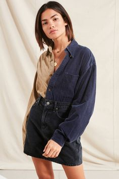 Urban Renewal Recycled Spliced Corduroy Shirt   Urban Outfitters