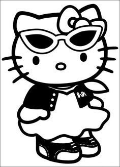 Printable Hello Kitty Coloring Pages For Kids. When we first heard Hello Kitty, the first one that occurred in our minds was a cute cat character that was very Sanrio Hello Kitty, Hello Kitty Haus, Hello Kitty Fotos, Images Hello Kitty, Hello Kitty Colouring Pages, Cartoon Coloring Pages, Coloring Pages For Kids, Coloring Sheets, Adult Coloring
