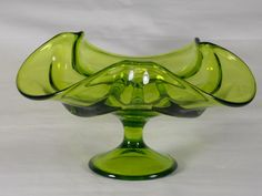 Circa 1969 Viking Art Glass Epic Drape Footed Candle Holder #6949 in Avocado Green Drapery Taper Bowl Made in USA Scarce Hard to Find - C by DianesBargainShack on Etsy