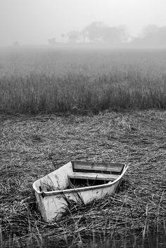 Abandoned Marsh Boat, Charleston, black and white photograph (RQ0A0147)