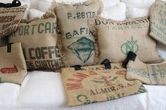 Nifty pillow idea. Repurpose canvas coffee and rice bags.