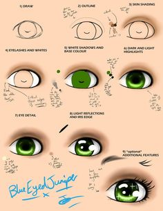 Manga eye step-by-step tutorial by BlueEyedJuniper My digital handwriting is awful T_T Anyway, I thought I'd make a manga tutorial along with my other 2 tutorials It's mainly directed for those in the ma. Manga eye step-by-step tutorial Seeing as my eye t Eye Painting, Doll Painting, Fabric Painting, Doll Face Paint, Manga Eyes, Eye Details, Doll Eyes, Sewing Dolls, Doll Repaint