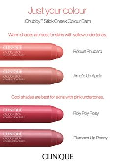 Clinique Chubby Stick Cheek Colour Balm - Find the right shade of blush for your skin tone. Warm shades are best for skins with yellow undertones. Cool shades are best for skins with pink undertones. Lipstick For Fair Skin, Lipstick Shades, Liquid Lipstick, Fall Lipstick Colors, Winter Lipstick, Lipstick Swatches, Lipsticks, Cool Stuff, Beauty Products