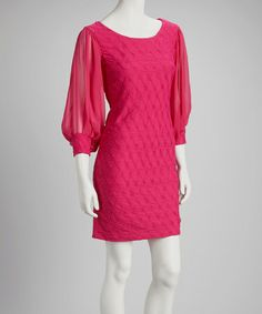 Another great find on #zulily! Fuchsia Chiffon Shift Dress by Julian Taylor #zulilyfinds
