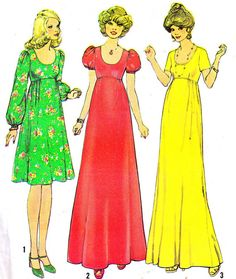 Simplicity 7245 Sewing Pattern Retro Disco Boho Hippie Style Peasant Dress Empire Waist Maxi Midi Blouson Sleeve from Adele Bee Ann Sewing Patterns. Vintage Outfits, Vintage Dresses, Vintage Dress Patterns, Clothing Patterns, Women's Clothing, 70s Fashion, Vintage Fashion, 70s Mode, 1970s Dresses