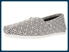 TOMS Esadrilles White Black Canvas Vintage Tile Classics für Damen (38) - Espadrilles für frauen (*Partner-Link)