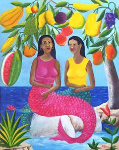 """""""Sirènes Avec Arbre de Fruits"""" by Fernand Pierre"""