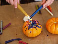 Wax Dripped Pumpkins for Halloween -