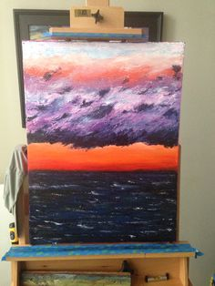 "Stormy Sunset - 24""x18"", oil on canvas (no brushes, knife only)"