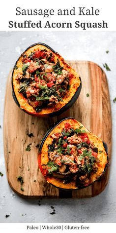 Healthy Recipes : Illustration Description This Sausage and Kale Stuffed Acorn Squash is a feel-good meal that will boost your mood and warm you up during the cold fall and winter days. Fall Dinner Recipes, Fall Recipes, Paleo Dinner, Food Network, Sausage Stuffed Acorn Squash, Acorn Squash Baked, Butternut Squash, Cooking Recipes, Healthy Recipes