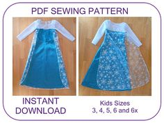 Frozen Elsa costume pattern. 5 sizes for 3-6.5 years. Instant