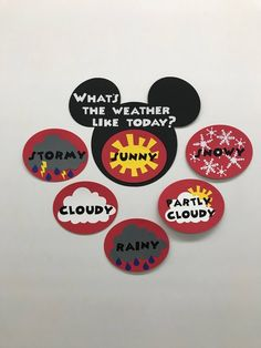 Kindergarten Preschool Disney Weather Chart Cards Mickey and Minnie Mouse RED Mickey Mouse Classroom, Mickey Mouse Crafts, Disney Classroom, Toddler Classroom, Mickey Mouse Clubhouse, Mickey Minnie Mouse, Disney Crafts, Disney Mickey, Kindergarten Classroom Decor