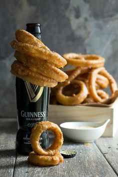 Deep fried Guinness beer battered onion rings with a Dijon dipping sauce
