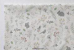"Animal Fabric, Animal Pattern, 58""x35"", 100% Cotton 30s, A walk in the Forest, Scandinavian Fabric,  Forest pattern, bird Pattern [#K0031]"