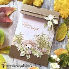 Igel mit Herbstanfang von Stampin´Up! gestempelt mit der Sonnenblume Shutter Karte, Folienkarte und Doodle Karte