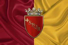 Fine art print:  Coat of Arms of Rome over Flag of Rome by Serge Averbukh via FineArt America...