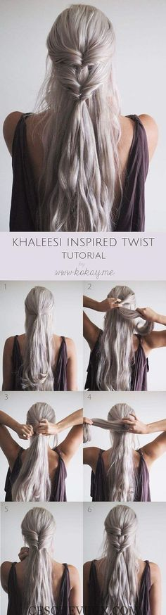 Best Hairstyles for Long Hair - Khaleesi Inspired Twist - Step by Step Tutorials. wizzszz wizzszz Hair Hair Hair Best Hairstyles for Long Hair - Khaleesi Inspired Twist - Step by Step Tutorials for Easy Curls, Updo, Half Up, Braids and Lazy Girl Lo Braided Hairstyles For Wedding, Pretty Hairstyles, Everyday Hairstyles, Hairstyles 2018, Elvish Hairstyles, Latest Hairstyles, Bride Hairstyles Down, Medieval Hairstyles, Bohemian Hairstyles
