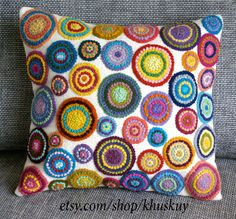 Peruvian Pillow embroidered multicolored circles Sheep & alpaca wool 16 x 16 cushion covers