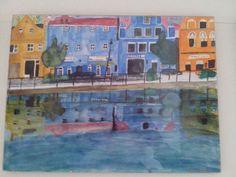 Isar Promenade Landshut, in Aquarell 40 x 30 cm, auf Hochwertigen Aquarellpapier