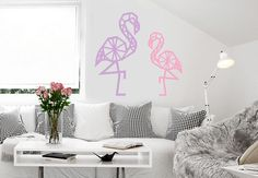 Wandtattoo Origami Flamingo von wall-art.de