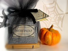 Halloween and autumn soaps:    ~Werewolf  ~Bite Me! (vampire soap)  ~Zombie Love (smells like bacon!)  ~Bewitching  ~Pumpkin Apple Butter  ~Dragon Your Feet  ~Orange Spice  ~Birch Bark