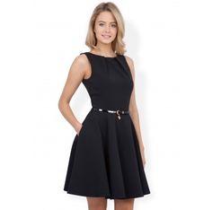Closet Black Flared Belted Dress