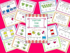 $4.50 FractionTask Cards - I use them in three different ways. First, I show them on the smart board for instructional practice whole group. A second way I use them is to post them around the room for students to circulate and work with a partner or independently to answer. You can vary this by printing 3 or 4 sets and handing out a set per table group. They can work independently or again with pairs to complete. The third way is for review in small group.  www.3rdgradegrapvevine.blogspot.com