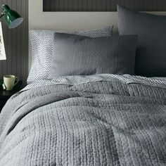 Organic Braided Matelasse Quilt Cover + Pillow Shams - Feather Grey (West Elm)